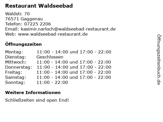 Restaurant Waldseebad in Gaggenau: Adresse und Öffnungszeiten
