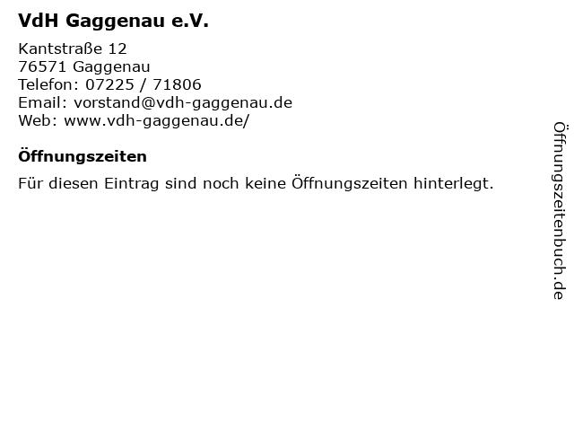VdH Gaggenau e.V. in Gaggenau: Adresse und Öffnungszeiten