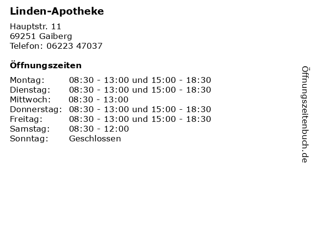 Linden-Apotheke in Gaiberg: Adresse und Öffnungszeiten