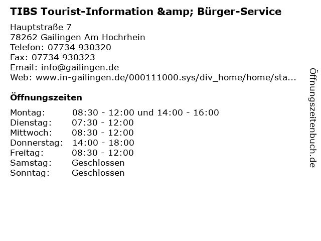 TIBS Tourist-Information & Bürger-Service in Gailingen Am Hochrhein: Adresse und Öffnungszeiten