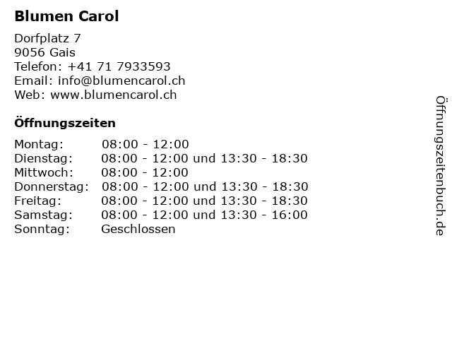 Blumen Carol in Gais: Adresse und Öffnungszeiten