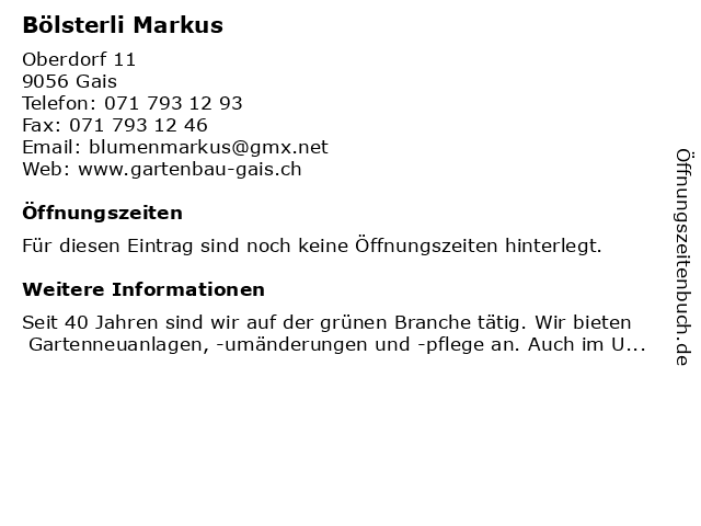 Markus Bölsterli in Gais: Adresse und Öffnungszeiten