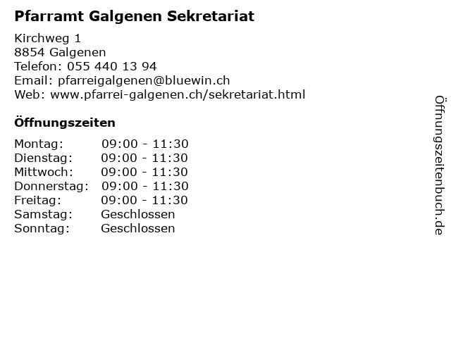 Pfarramt Galgenen Sekretariat in Galgenen: Adresse und Öffnungszeiten