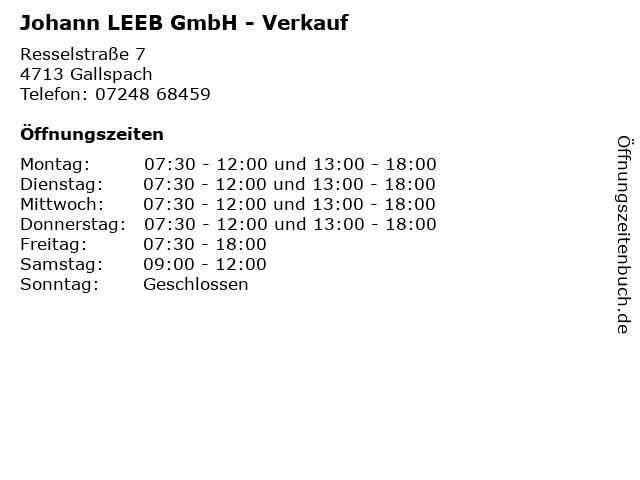 Johann LEEB GmbH - Verkauf in Gallspach: Adresse und Öffnungszeiten
