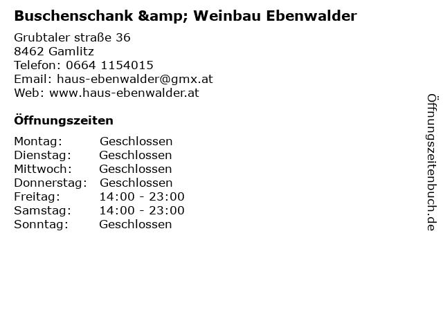 Buschenschank & Weinbau Ebenwalder in Gamlitz: Adresse und Öffnungszeiten