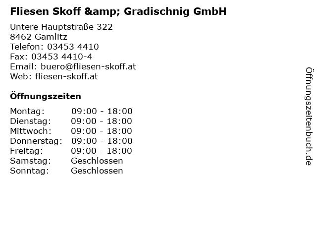 Fliesen Skoff & Gradischnig GmbH in Gamlitz: Adresse und Öffnungszeiten