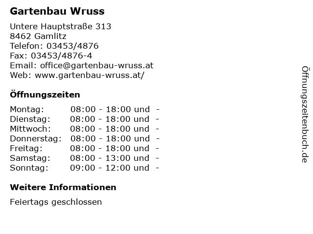 Gartenbau Wruss in Gamlitz: Adresse und Öffnungszeiten