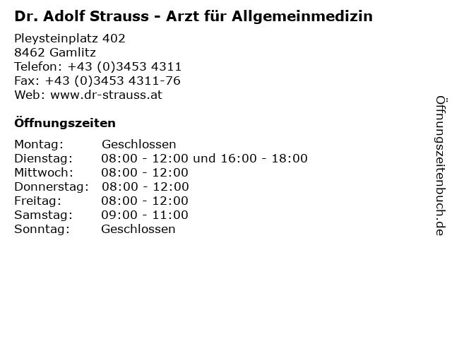 Hausarzt Praxis Dr. Adolf Strauss in Gamlitz: Adresse und Öffnungszeiten