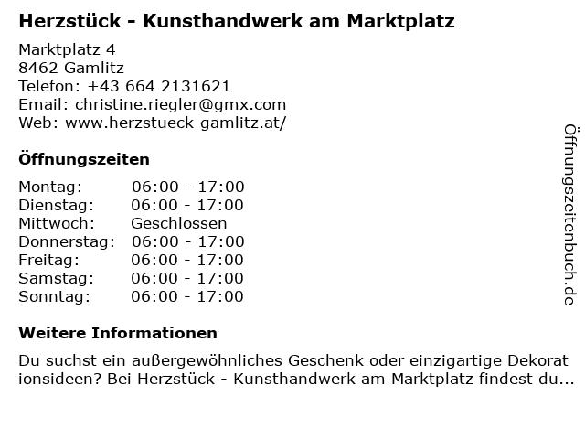 Herzstück - Kunsthandwerk am Marktplatz in Gamlitz: Adresse und Öffnungszeiten