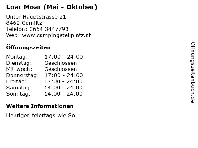 Loar Moar (Mai - Oktober) in Gamlitz: Adresse und Öffnungszeiten