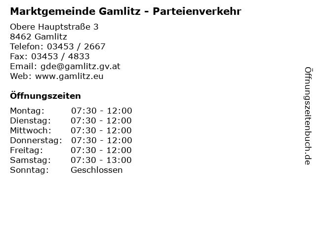 Marktgemeinde Gamlitz - Parteienverkehr in Gamlitz: Adresse und Öffnungszeiten