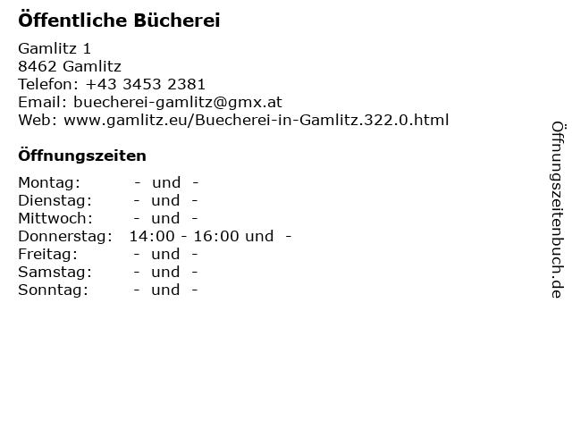 Öffentliche Bücherei in Gamlitz: Adresse und Öffnungszeiten