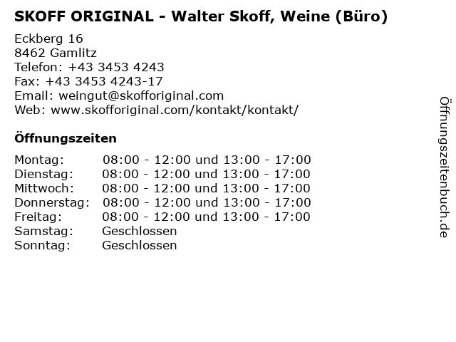SKOFF ORIGINAL - Walter Skoff, Weine (Büro) in Gamlitz: Adresse und Öffnungszeiten