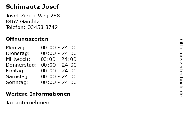 Schimautz Josef in Gamlitz: Adresse und Öffnungszeiten