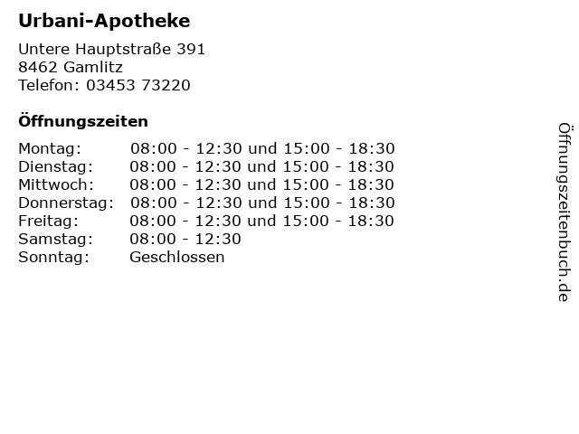 Urbani-Apotheke in Gamlitz: Adresse und Öffnungszeiten