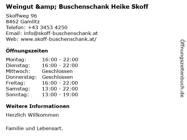Weingut & Buschenschank Heike Skoff in Gamlitz: Adresse und Öffnungszeiten