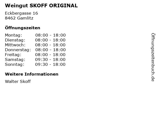 Weingut SKOFF ORIGINAL in Gamlitz: Adresse und Öffnungszeiten