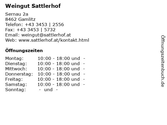 Weingut Sattlerhof in Gamlitz: Adresse und Öffnungszeiten