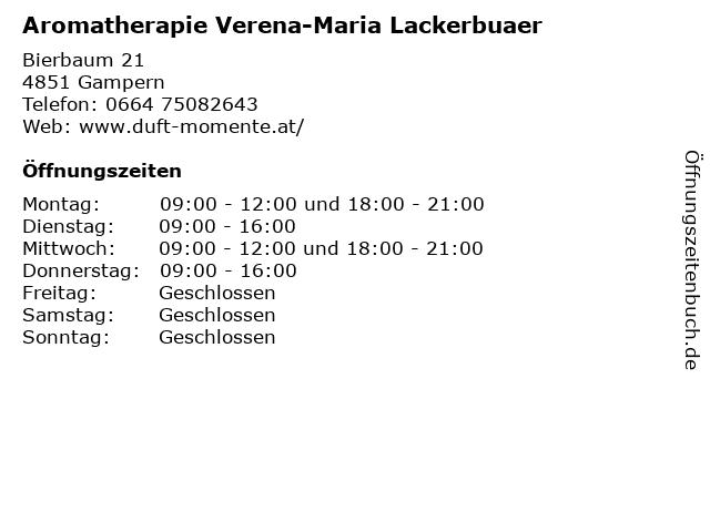 Aromatherapie Verena-Maria Lackerbuaer in Gampern: Adresse und Öffnungszeiten