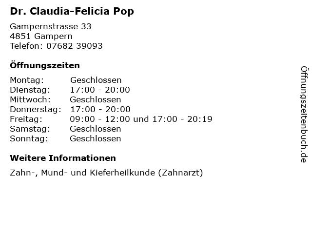 Dr. Claudia-Felicia Pop in Gampern: Adresse und Öffnungszeiten
