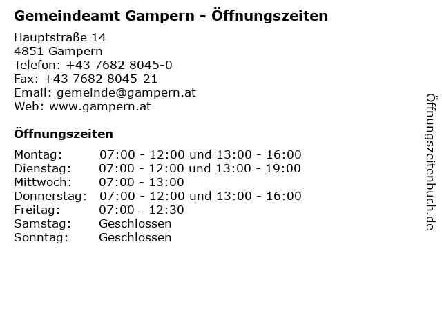 Gemeindeamt Gampern - Öffnungszeiten in Gampern: Adresse und Öffnungszeiten
