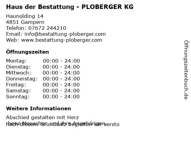 Haus der Bestattung - PLOBERGER KG in Gampern: Adresse und Öffnungszeiten