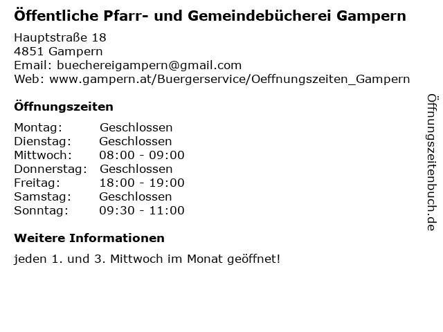 Öffentliche Pfarr- und Gemeindebücherei Gampern in Gampern: Adresse und Öffnungszeiten