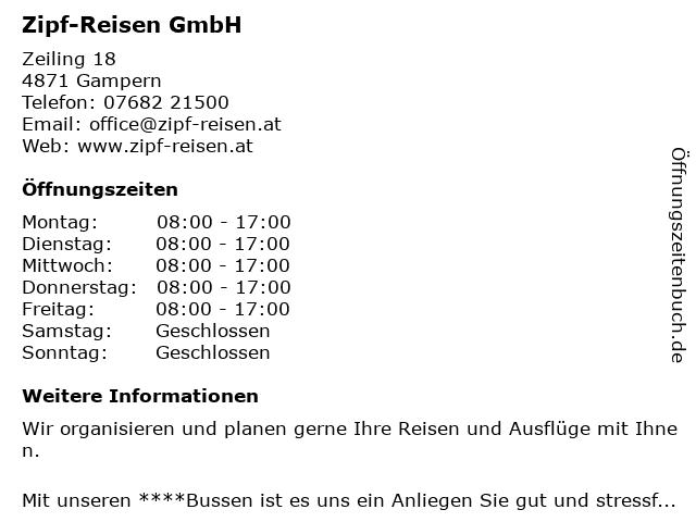 Zipf-Reisen GmbH in Gampern: Adresse und Öffnungszeiten