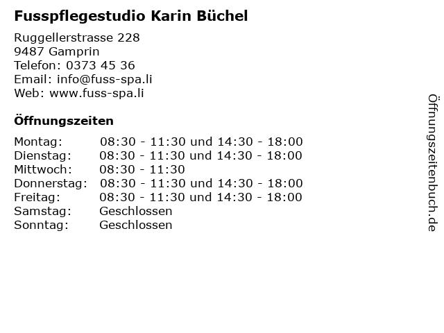 Fusspflegestudio Karin Büchel in Gamprin: Adresse und Öffnungszeiten