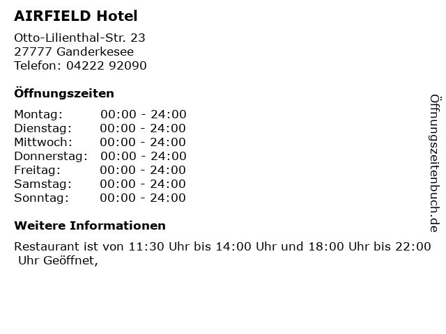 ᐅ Offnungszeiten Airfield Hotel Otto Lilienthal Str 23 In
