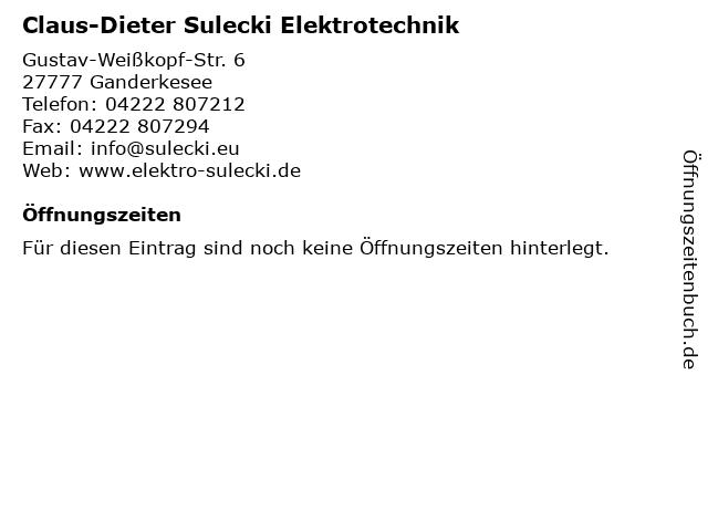 Claus-Dieter Sulecki Elektrotechnik in Ganderkesee: Adresse und Öffnungszeiten
