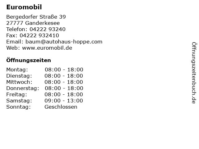 Euromobil in Ganderkesee: Adresse und Öffnungszeiten