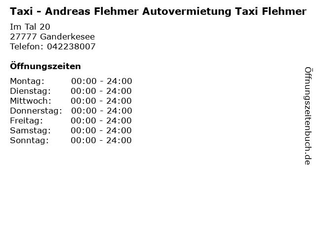 Taxi - Andreas Flehmer Autovermietung Taxi Flehmer in Ganderkesee: Adresse und Öffnungszeiten
