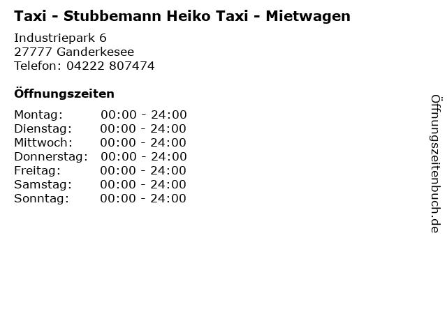 Taxi - Stubbemann Heiko Taxi - Mietwagen in Ganderkesee: Adresse und Öffnungszeiten