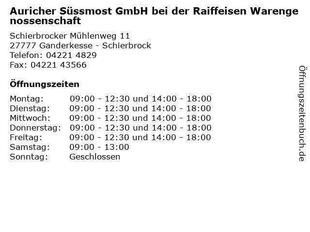 Auricher Süssmost GmbH bei der Raiffeisen Warengenossenschaft in Ganderkesse - Schierbrock: Adresse und Öffnungszeiten