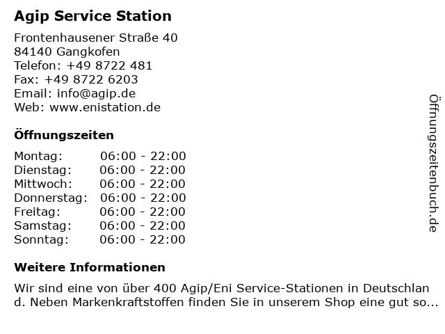 Agip Service Station in Gangkofen: Adresse und Öffnungszeiten