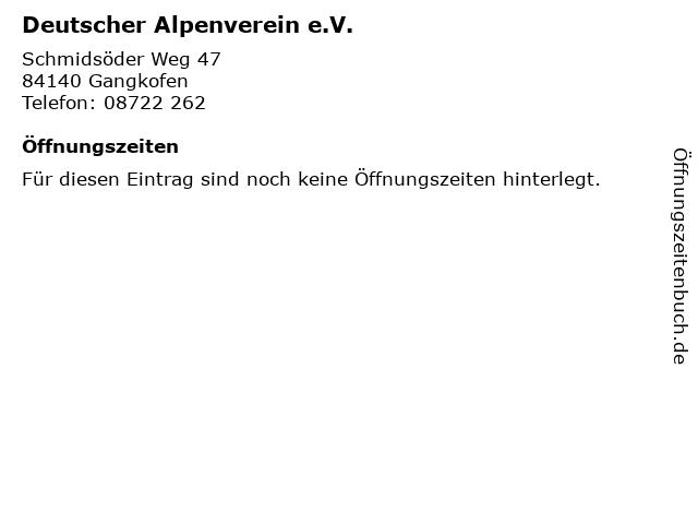 Deutscher Alpenverein e.V. in Gangkofen: Adresse und Öffnungszeiten