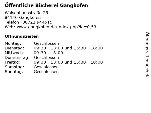 Öffentliche Bücherei Gangkofen in Gangkofen: Adresse und Öffnungszeiten