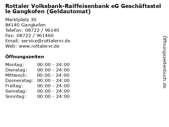 Rottaler Volksbank-Raiffeisenbank eG Geschäftsstelle Gangkofen (Geldautomat) in Gangkofen: Adresse und Öffnungszeiten