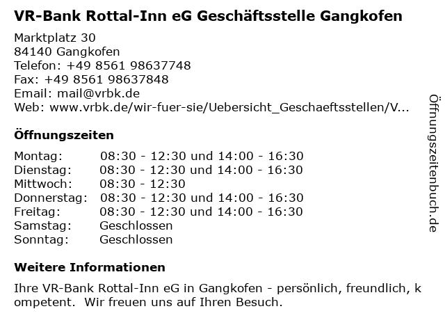 VR-Bank Rottal-Inn eG Geschäftsstelle Gangkofen in Gangkofen: Adresse und Öffnungszeiten