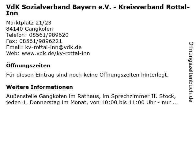 VdK Sozialverband Bayern e.V. - Kreisverband Rottal-Inn in Gangkofen: Adresse und Öffnungszeiten