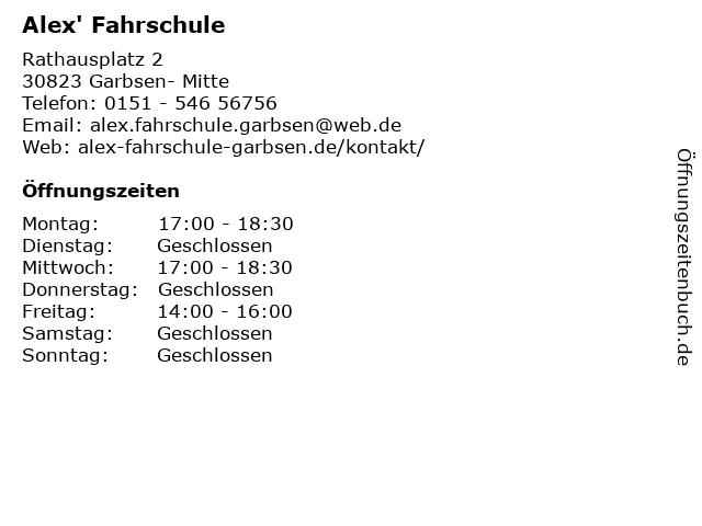 Alex' Fahrschule in Garbsen- Mitte: Adresse und Öffnungszeiten