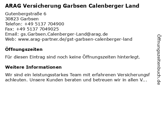 ARAG Versicherung Garbsen Calenberger Land in Garbsen: Adresse und Öffnungszeiten