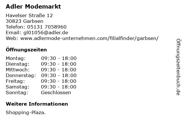 Adler Modemärkte AG in Garbsen: Adresse und Öffnungszeiten