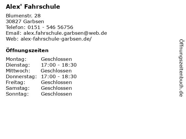 Alex' Fahrschule in Garbsen: Adresse und Öffnungszeiten
