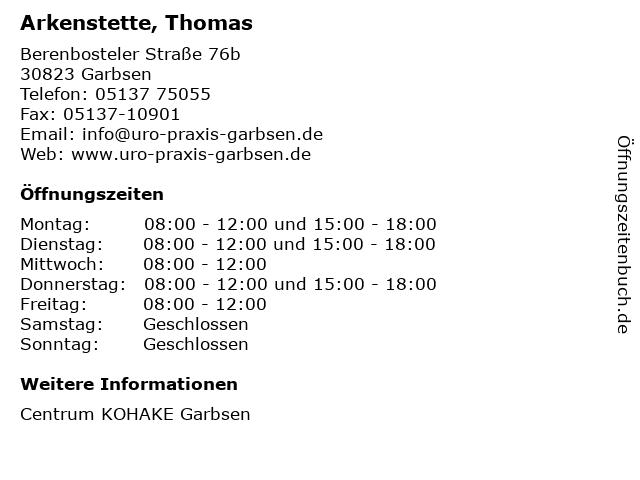 Arkenstette, Thomas in Garbsen: Adresse und Öffnungszeiten