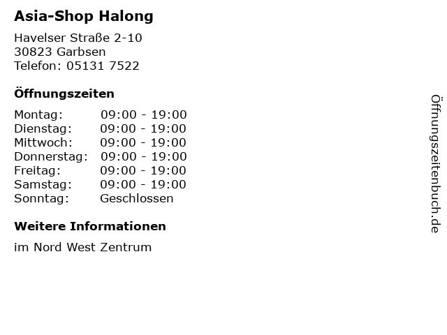 Asia-Shop Halong in Garbsen: Adresse und Öffnungszeiten