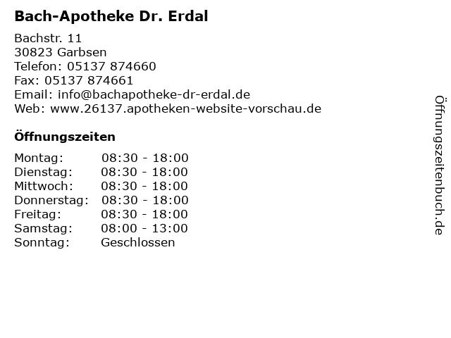 Bach-Apotheke Dr. Erdal in Garbsen: Adresse und Öffnungszeiten