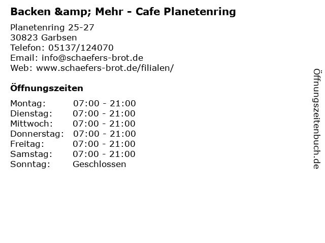 Backen & Mehr - Cafe Planetenring in Garbsen: Adresse und Öffnungszeiten