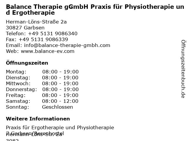 Balance Therapie gGmbH Praxis für Physiotherapie und Ergotherapie in Garbsen: Adresse und Öffnungszeiten
